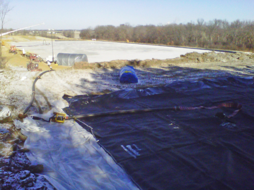 Overview of the pond and geotextile tube dewatering pad