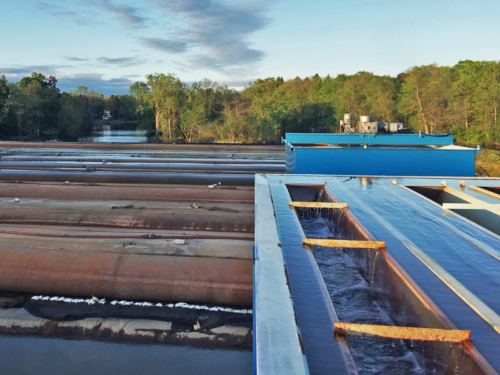 View of Non-TSCA dewatering pad from top of clarifer
